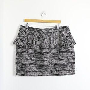 Atmosphere tweed peplum mini skirt metallic silver